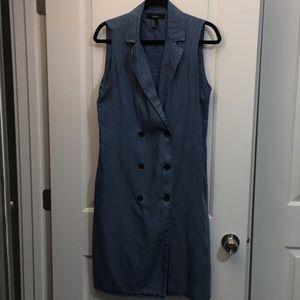 Forever 21 Denim Long Vest with Pockets